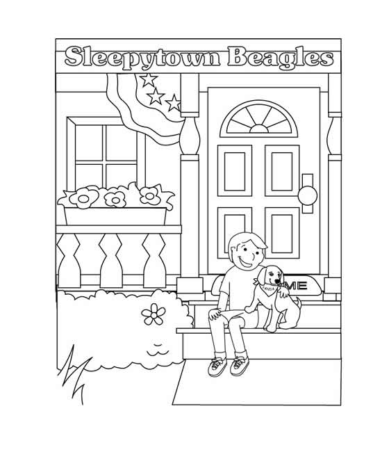 Sleepytown Beagles, Free coloring page